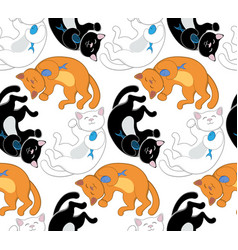 seamless pattern with black white and red cats vector image