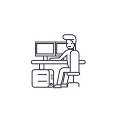 Security control workplace line icon sig vector