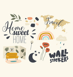 set icons wall stickers theme decorative vector image