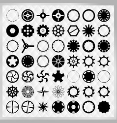 set of black steampunk gears image vector image