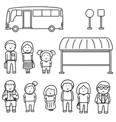 set of bus stop vector image