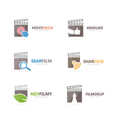 set of clapperboard logo combination movie and vector image