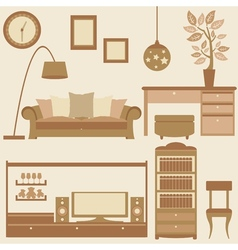 Set of furniture in livingroom vector