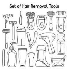Set of hair removal tools and toiletries line art vector