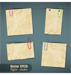 Set of realistic scraps of paper with clips vector