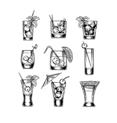 Set of stemware vector