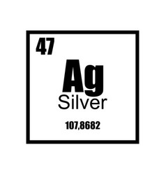 silver periodic table element black on white vector image