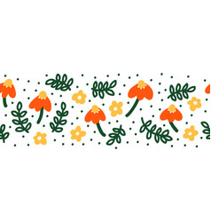 simple abstract hand drawn flowers and doodle vector image