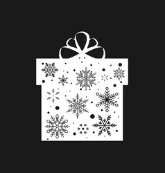 snowflake gift box christmas and new year vector image