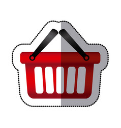 sticker colorful silhouette with shopping basket vector image