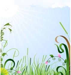 Summer sun landscape vector