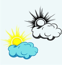 Sun in the clouds symbol vector image