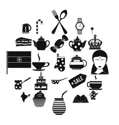 tea place icons set simple style vector image
