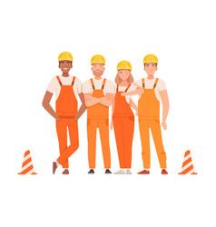 Team road builders in orange overalls vector