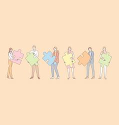 teamwork partnership business cooperation vector image