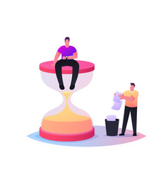 Tiny male character sitting on huge hourglass vector