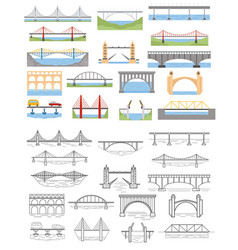 Types bridges set color and linear graphic vector