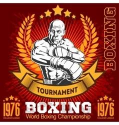Vintage boxing emblem label badge logo and vector