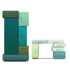 Wardrobe and desk consists modules isolated vector