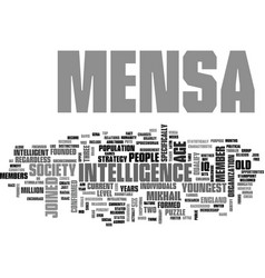 What is mensa text word cloud concept vector