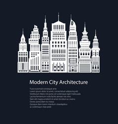 white silhouette modern big city and text vector image