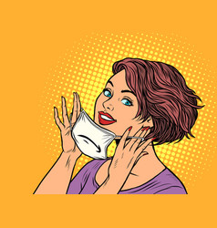 woman puts on a medical mask vector image