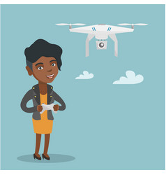 Young african-american woman flying drone vector