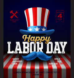 Happy labor day party poster template vector