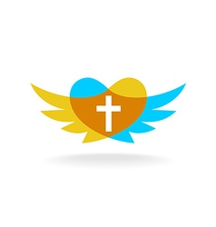 Religion logo with wings heart silhouette and vector image vector image