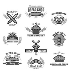 bakery icons of bread wheat ears and mill vector image