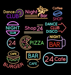 bar dance club cafe neon signs isolated on black vector image vector image