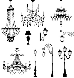 Chandelier and vintage lamp set vector image