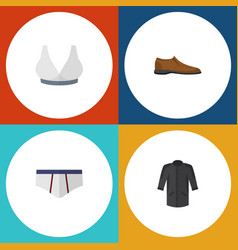 Flat icon dress set of underclothes male footware vector