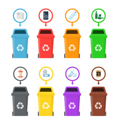 garbage cans with sorted garbage vector image vector image