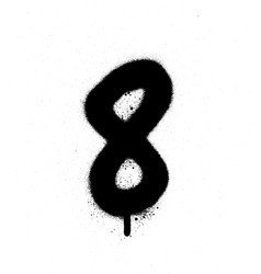 graffiti sprayed number 8 eight in black on white vector image vector image