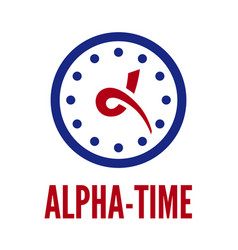 letter alpha and clock vector image