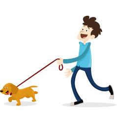 cartoon style man walking with dog dachshund vector image vector image