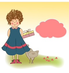 Curly young girl she hide a gift vector