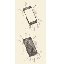 Hand Drawn Black Mobile Phone iPhone Sketch vector image vector image
