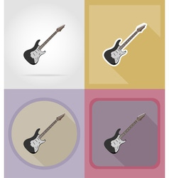 music items and equipment flat icons 07 vector image