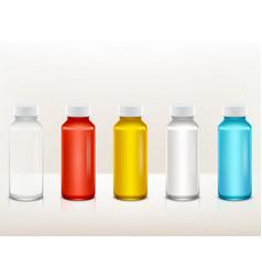 realistic plastic medical paint bottle set vector image