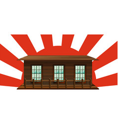wooden house with sun in background vector image vector image