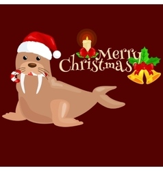 Christmas walrus in a cap and with candy in your vector image vector image