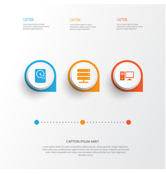 computer icons set collection of database hdd vector image vector image