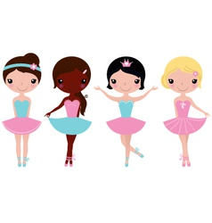 Cute beautiful ballerina girls isolate on white vector image