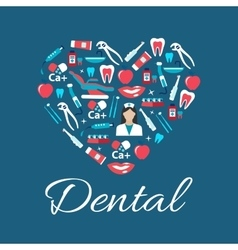 Dental treatments flat icons in a shape of heart vector image