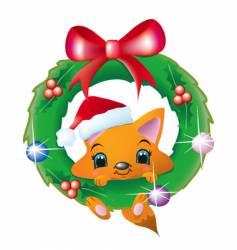 fox in a christmas wreath vector image