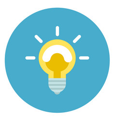 light bulb icon on round blue background vector image
