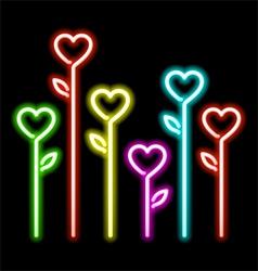 Neon hearts flowers vector image