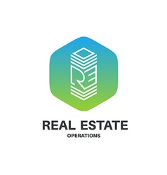 Real estate abbreviation monogram logo Skyscraper vector image vector image